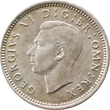 1937 to 1944 Silver Three Pence George VI Grades From Fine to EF